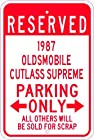 1987 87 OLDSMOBILE CUTLASS SUPREME Aluminum Parking Sign - 10 x 14 Inches