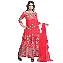 Youth Mantra womens Georgette embroidered Red dress materials