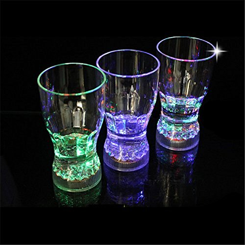 Light Up Big Cola Glasses Flashing Blinking LED Cups Barware Bell Soda Glass Pop for Bar Party Holloween Christmas Romantic Drinking (9pcs) (Soda Pop Christmas compare prices)