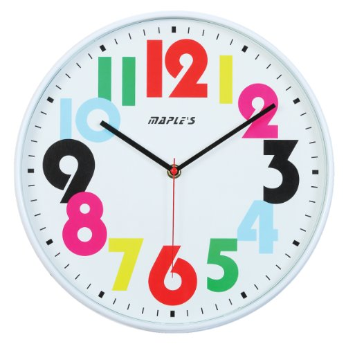 Maple's 12-Inch Wall Clock White Face with Colored ...