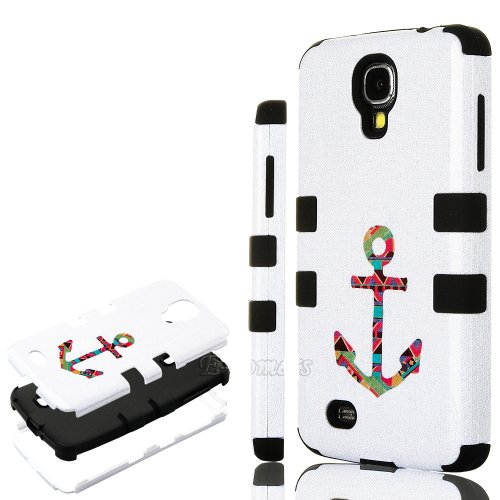 "Mylife (Tm) Black - Tribal Anchor Design (3 Piece Hybrid) Hard And Soft Case For The Samsung Galaxy S4 ""Fits Models: I9500, I9505, Sph-L720, Galaxy S Iv, Sgh-I337, Sch-I545, Sgh-M919, Sch-R970 And Galaxy S4 Lte-A Touch Phone"" (Fitted Front And Back Solid"