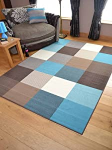 Trend Teal Squares Design Rug. Available in 8 Sizes (235cm x 320cm) by Rugs Supermarket