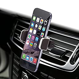 Dash Crab MONO - Genuine Leather Car Mount, Luxurious Premium Air Vent Cell Phone Car Holder for iPhone 7 Plus 6 6s Plus Samsung Galaxy S7 S6 Edge Note 5, Universal Grip - Retail Pack (Brown)