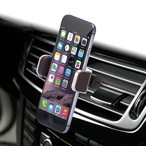 Dash Crab Genuine Leather Premium Car Air Vent Mount Holder for iPhone 6s Plus 6s 5s 5c, Galaxy Note 5 4, Galaxy S6 Edge Plus S6 S5 S4 / Universal Fit / Retail Packaging (Dash Crab MONO – Brown)