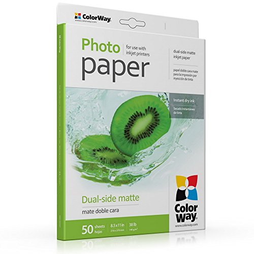 ColorWay Matte Double Sided Photo Paper, 8.5x11 inches, 50 sheets, 38lb, 140gsm. Print dual-side photos. Compatible with all inkjet printers. (PMD140050LT) (Printer Double Side compare prices)