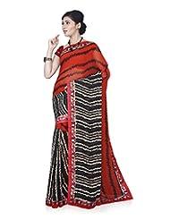 Aadarshini Women's Faux Georgette Saree (1088, Black And White)