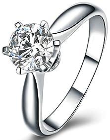 buy Beydodo Women Silver Plated Ring Round Big Cubic Zirconia Polish Thin Size 7.5