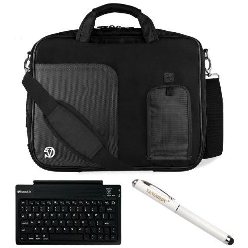 "Black Vg Pindar Edition Messenger Bag Carrying Case For Barnes & Noble Nook Hd+ Slate 9"" Tablet (16Gb 32Gb) + Executive Laser Stylus Pen With Led Light + Sumaclife Bluetooth Wireless Keyboard front-232145"