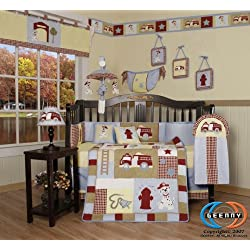 Boutique Brand New GEENNY Baby Boy FireTruck 13PCS CRIB BEDDING SET