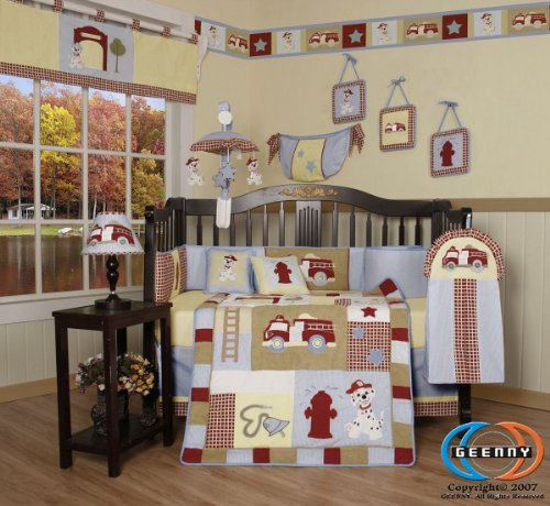 Boutique Brand New GEENNY Baby Boy FireTruck 13PCS CRIB BEDDING SET (Fire Truck Comforter Set compare prices)