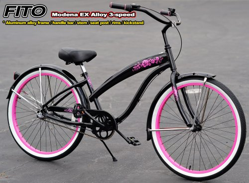 Anti-Rust aluminum Alloy frame, Fito Modena EX Alloy 3-speed - Metallic Black/Pink, women's Beach Cruiser Bike Bicycle, Shimano Nexus Equipped