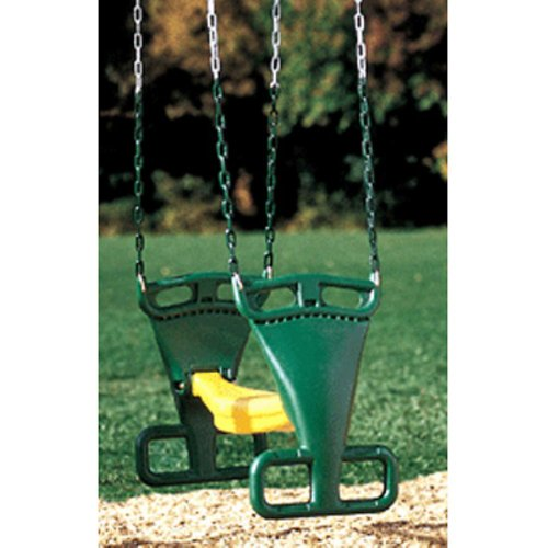Kidwise Molded Back To Back Glider With Chains- Green/Yellow front-773836