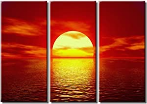 Picture Sensations Framed Huge 3-Panel Serenity Ocean Wave Red Sunset Canvas Print