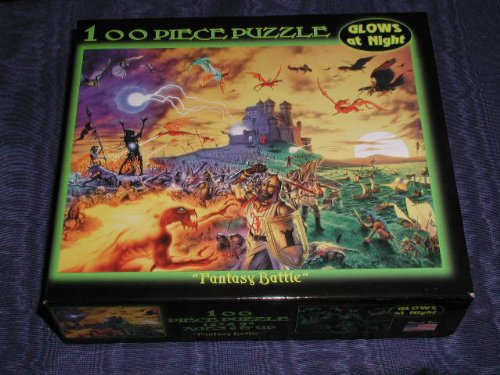 "Glow In The Dark 100-Piece Jigsaw Puzzle - ""Fantasy Battle"""