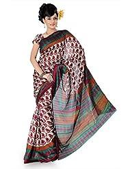 Designersareez Women Bhagalpuri Silk Printed Cream Saree With Unstitched Blouse(820)