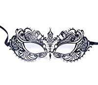 Signstek Black Venetian Luxury Style Metal Filigree Princess Masquerade Mask by Signstek