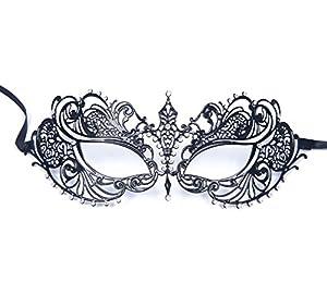 Signstek Black Venetian Luxury Style Metal Filigree Princess Masquerade Mask by Signstek