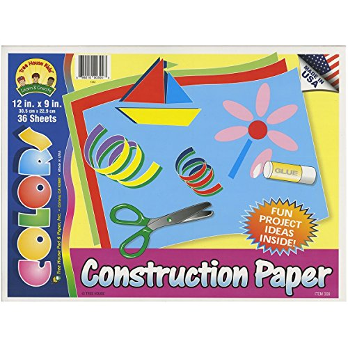 "Construction Paper Pad, 12"" X 9"", by Tree House Kids, Assorted Colors, 36 Sheets (Pack of 3) TOTAL 108 SHEETS - 1"