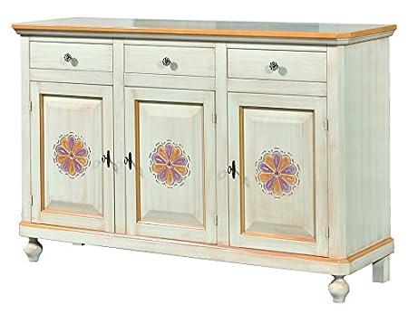 Credenza in legno avorio pennellato con decori, con 3 porte intagliata e 3 cassetti 158x103