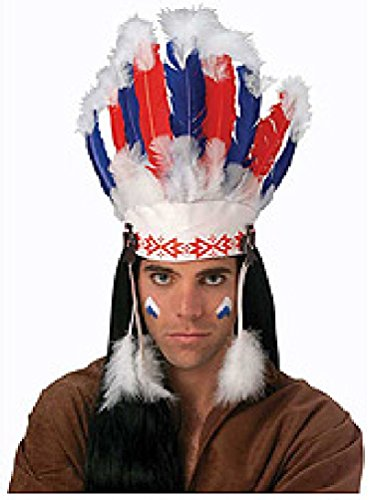 NATIVE AMERICAN COSTUME HEADDRESS - CHIEF INDIAN WARRIOR