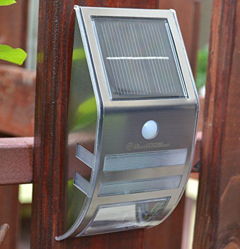 Solar Motion Sensor Light Outdoor New Generation Design/ Lifetime Guarantee/ PIR Sensor Solar Powered Led from Best100Stuff/ Stainless Steel/ Waterproof Durable/ Fence Wall DriveWay Garden Patio Path Light/ Improve Security/ Protect Your Investment