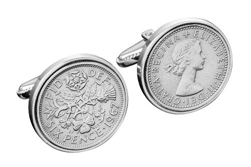 Ideal 50th Gift- 1963 English sixpence Cufflinks-Free UK delivery-Includes silver gift box
