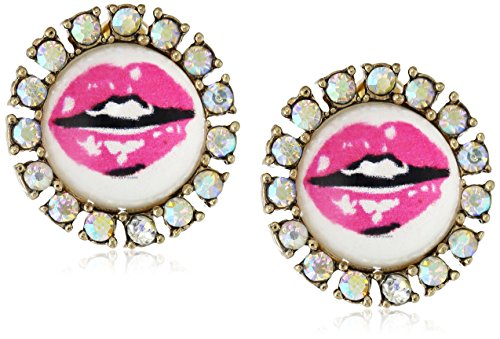 """Betsey Johnson """"The Eyes Have It"""" Lips Round Stud Earrings front-200964"""