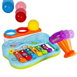 Liberty-Imports-Rainbow-Xylophone-Piano-Pounding-Bench-for-Kids-with-Balls-and-Hammer
