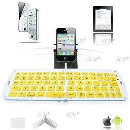 TOP® Quality android tablet external keyboard, ipad rubber bluetooth keyboard, midi keyboard, mini keyboard, external keyboard for mobile phone, bluetooth keyboard for android in Yellow, 6~8 DAYS DELIVERY to USA!