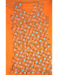 Exotic India Orange Salwar Suit Fabric With Floral Embroidery And Sequi - Orange