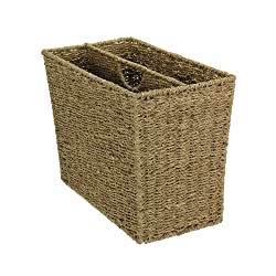 Household Essentials Woven Rattan Side-by-Side Magazine Rack