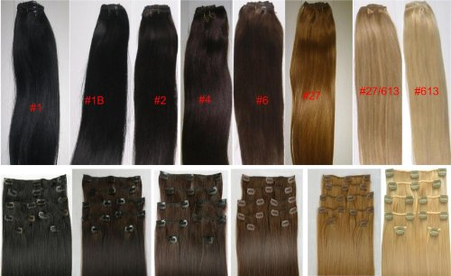18″ Clip in Human Hair Extensions, 10pcs, 100g, Color #F27/613 (Honey blonde)