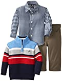 Nautica Baby-Boys Infant 3 Piece Woven and Striped Sweater Set