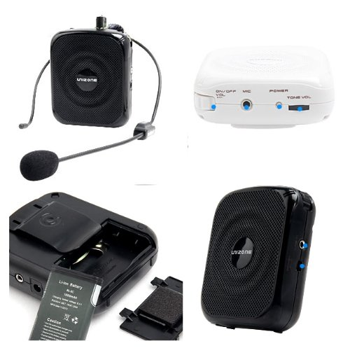 Unizone Uz-9088S Portable Rechargeable Voice Amplifier Public Address (Pa) Microphone & Speaker - Black