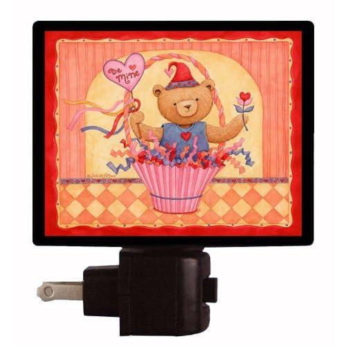 Valentines Day Night Light   Be Mine Bear Basket   Love LED NIGHT LIGHT