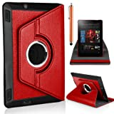 Mobile-Heaven Stylish 360 Degree Rotating Red Premium PU Leather Smart Stand Multi Function Chrome Flip Pouch Case Cover For Amazon Kindle Fire HD 7