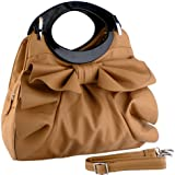 MG Collection Dacia Large Bowknot Ruffle Office Purse Style Satchel