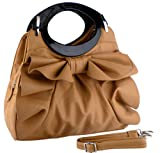 Apricot Large Bowknot Ruffle Double Handle Leatherette Satchel Hobo Handbag w/Shoulder Strap