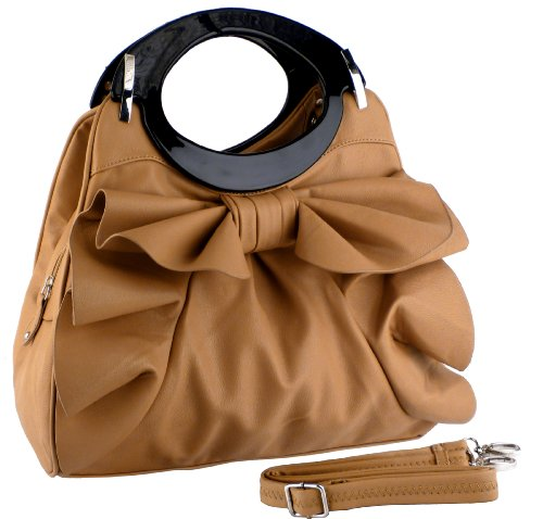 Apricot Large Bowknot Ruffle Double Handle Leatherette