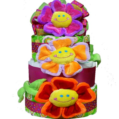 Flower Power Baby Girl Diaper Cake Gift Tower