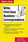 Here's How: Write First-Class Business Correspondence (0844220744) by Baugh, L. Sue