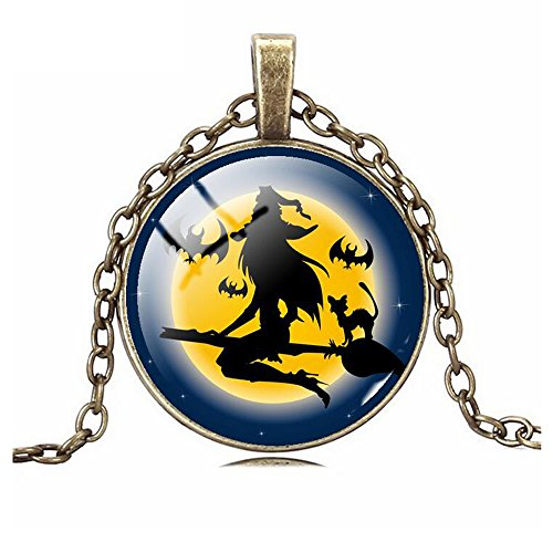 [Darkey Wang Woman Halloween Evil Witch Broom Fashion Pendant Necklace(1#)] (Witch Doctor Costume Diy)