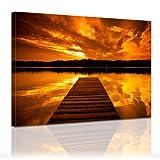 """Bilderdepot24 Leinwandbild """"Sonnenuntergang mit Steg"""" 120x90cm – fertig gerahmt, direkt vom Hersteller"""
