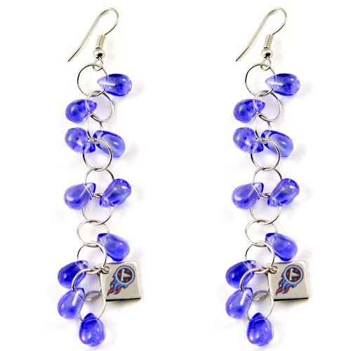 NFL Touch by Alyssa Milano Tennessee Titans Blue Beaded Drop Earrings at Amazon.com