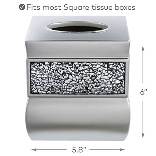 Tissue Box Cover, Decorative Square Tissue Box Holder is Finished in Beautiful Silver Mosaic Glass, Brushed Nickel Collection Bathroom Accessories