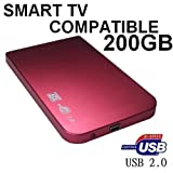 SONNICS 200GB - PINK 2.5 INCH EXTERNAL POCKET SIZED USB HARD DRIVE FOR SMART TV - ALSO PC, LAPTOP, PLAYSTATION 3