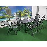 7-teilige Luxus Streckmetall Gartenmöbelgruppe von RRR, Klappsessel und Gartentisch 180x90 anthrazit, P24