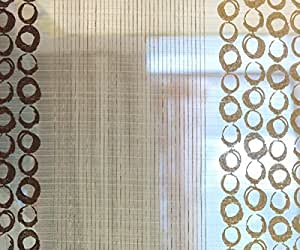 108 Wide Brown Circles Stripes Stitch Embroidery Sheer Curtain Polyester Weaved
