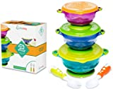 Stay Put and Spill Proof Suction Toddler Baby Bowls Feeding Set- Bonus Spoon and Fork 3 Sizes of Bowls, and Snap Tight Lids, Perfect To Go Storage FDA Approved BPA Free, Best Snack Bowl