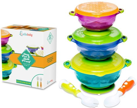 Stay Put and Spill Proof Suction Baby Bowls Feeding Set- Bonus Fork and Spoon 3 Sizes of Bowls, and Snap Tight Lids, Perfect To Go Storage FDA Approved BPA Free, Best Snack Bowl & Toddler Bowls